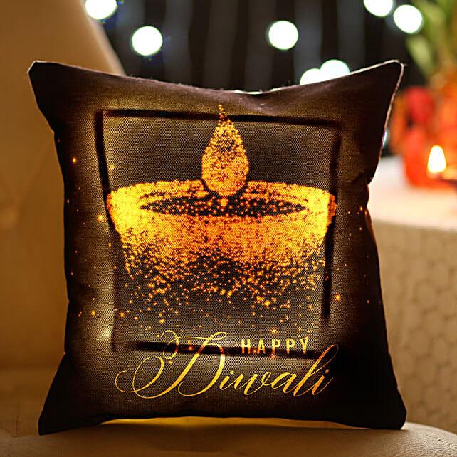 Diwali Diya Printed LED Cushion:Diwali Gifts for Kids