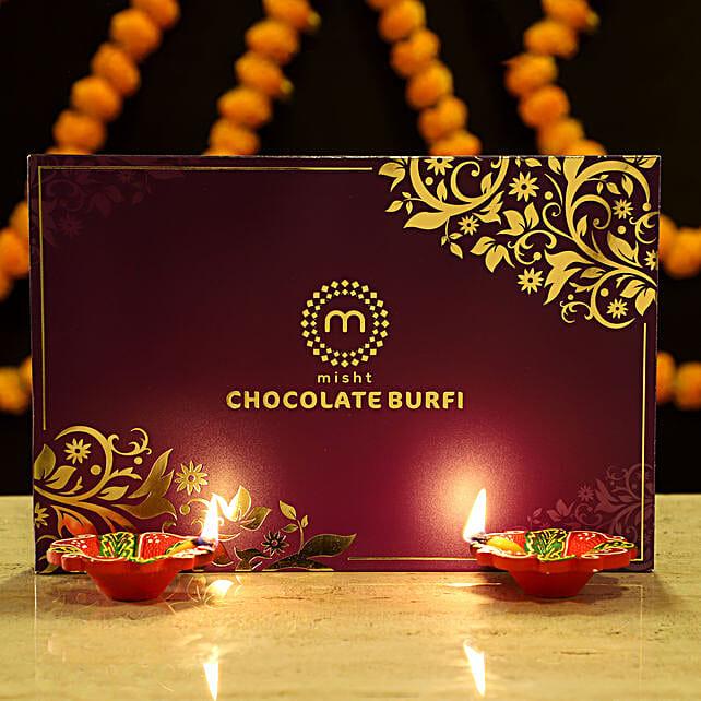 Online Chocolate Burfi & Diya