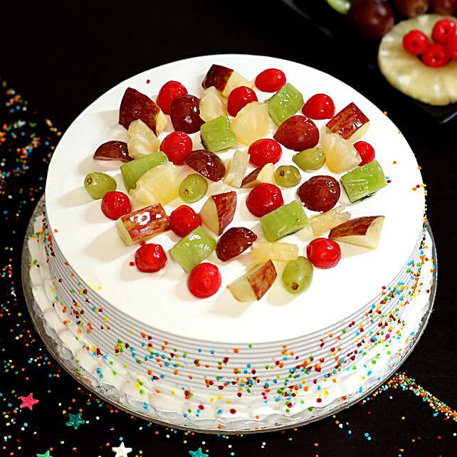 Fresh Fruit Vanilla Cake- 1 Kg Eggless