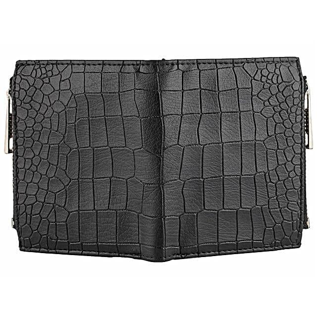 Patterned Black Wallet