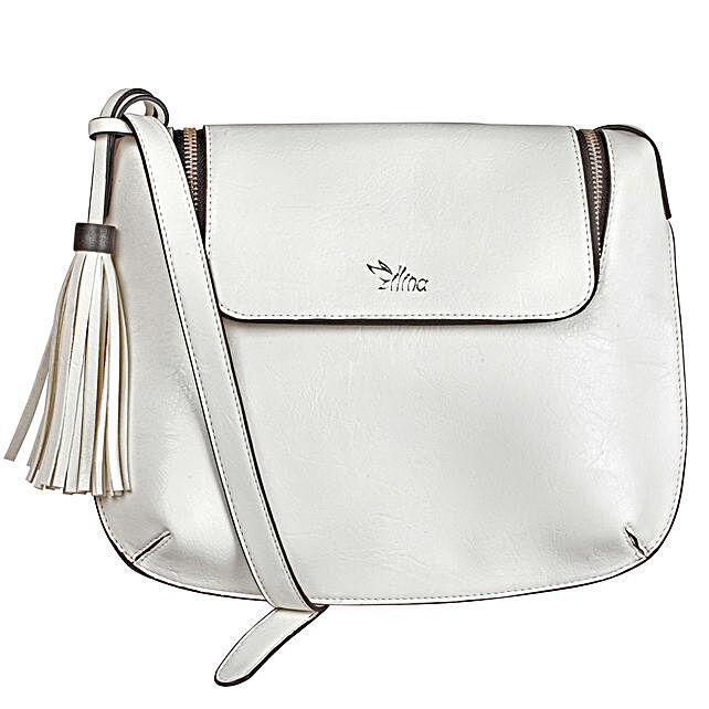 Poised White Sling Bag