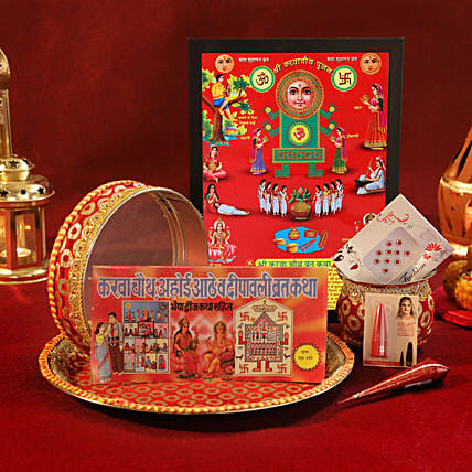 Complete Karwa Chauth Red Golden Thali Set