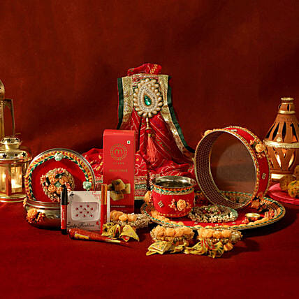 Floral Red Thali Set Shringar