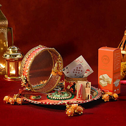 Orange Velvet Thali With Shringar Sargi