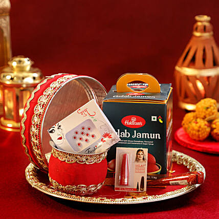 Red Velvet Thali Shringar Set
