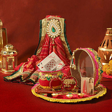 Zardosi Red Thali Set Shringar