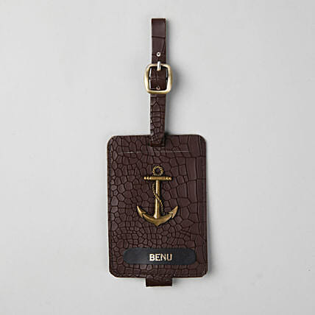 Personalised Croco Brown Luggage Tag
