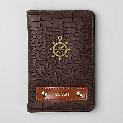Personalised Croco Brown Passport Cover