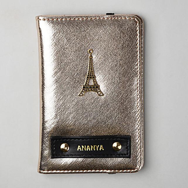 Personalised Metallic Gold Passport Cover
