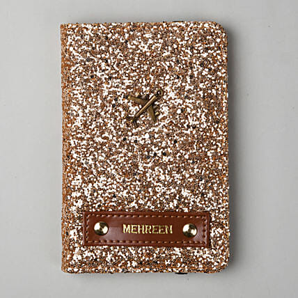 Personalised Rose Gold Glitter Passport Cover