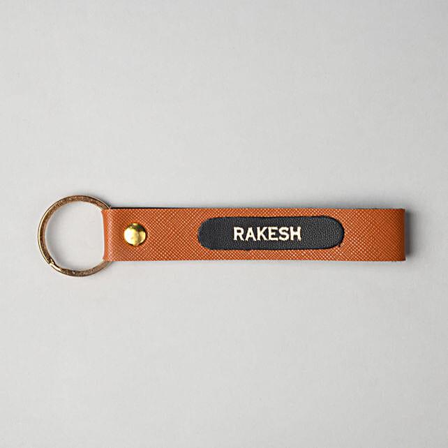 Personalised Tan Brown Key Chain