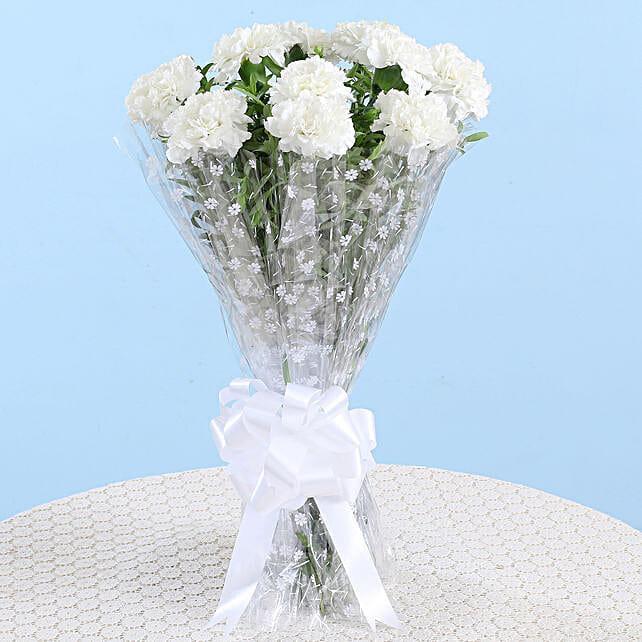 white attractive carnation bouquet online