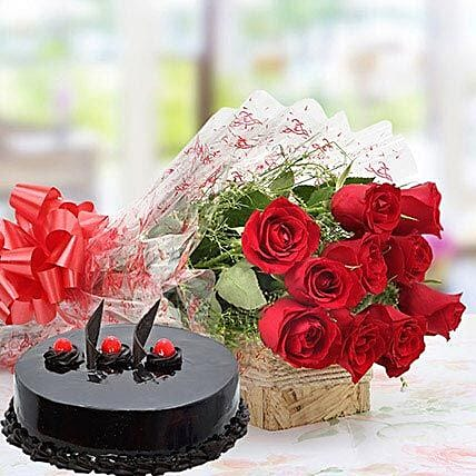 Red Roses With Eggless Truffle Cake