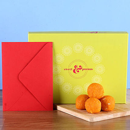 Sweets with greeting card:Diwali Gifts for Colleague