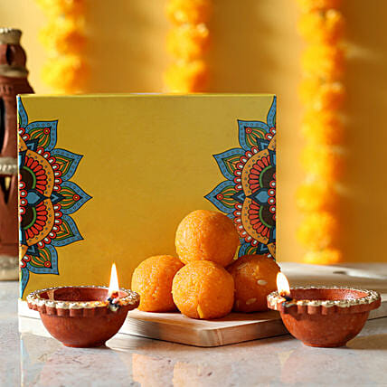 Sweets and diyas combo:Diwali Gifts for Colleague