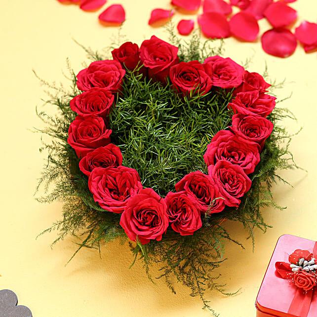 Heart Shape Roses - Heart shape arrangement of 17 Red Roses.