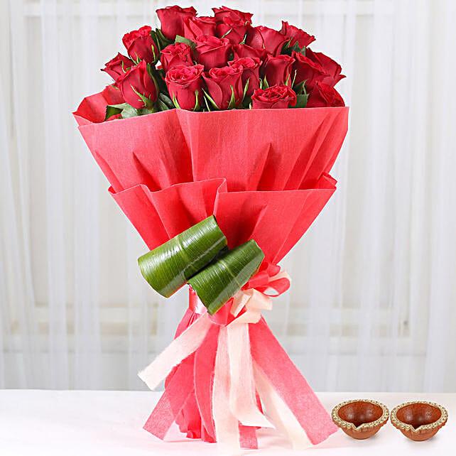 Flower Bouquet with Diya Online On Diwali