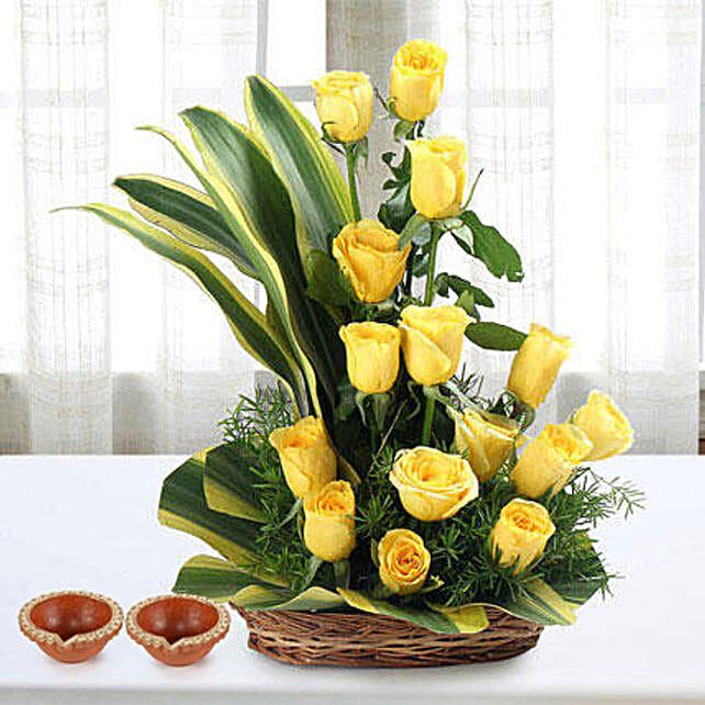 Yellow Flowers Arrangement for Diwali