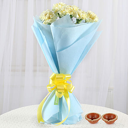 Diyas and Carnations Bouquet Online