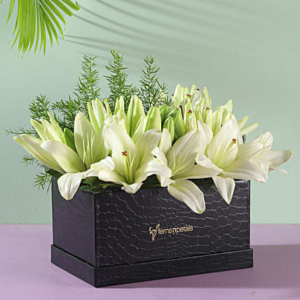 white asiatic lilies box arrangement for him