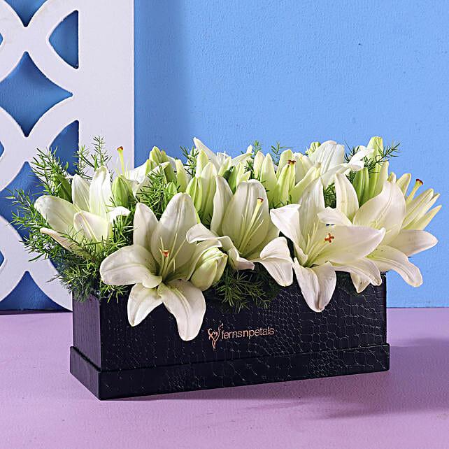 white flower in rectangle black box online