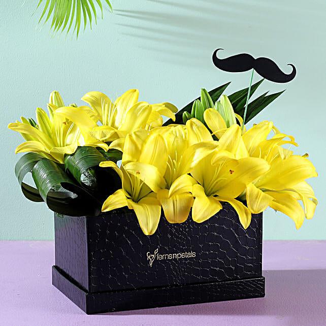 yellow lilies flower box arrangement online
