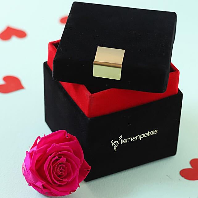 Hot Pink Forever Rose in Velvet Box