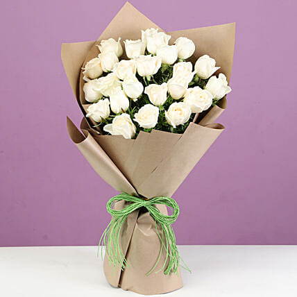 Online White Roses Set Wrapped In Brown Paper