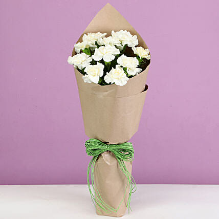 white carnations bouquet online