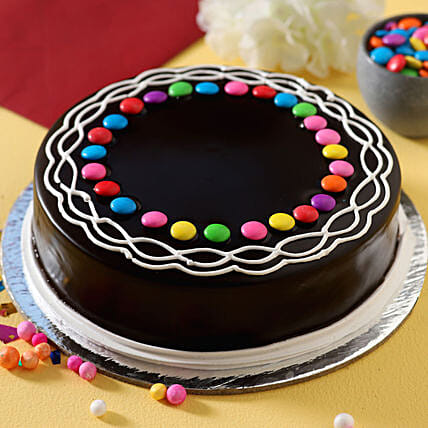 Gems Decorated Chocolate Cake Half Kg