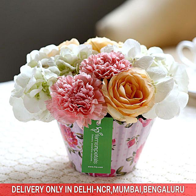 Roses Carnations Cupcake Arrangement