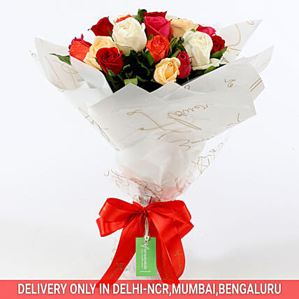 Online Mixed Colored Rose Bouquet