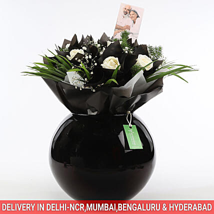 online white flower wrapping in bowl for her