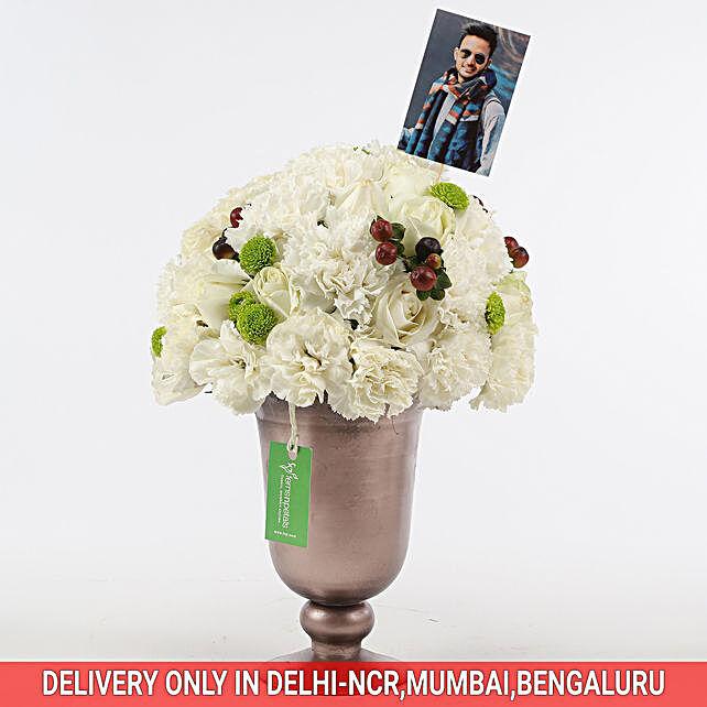 white roses n carnation arrangement for her online