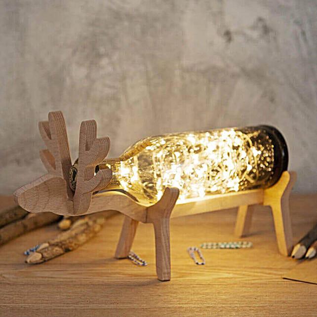 Black Reindeer Wooden Lamp