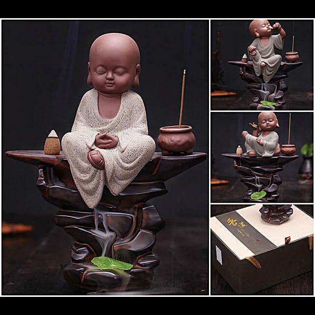 Lord Buddha Back Flow Incense Burner Blue