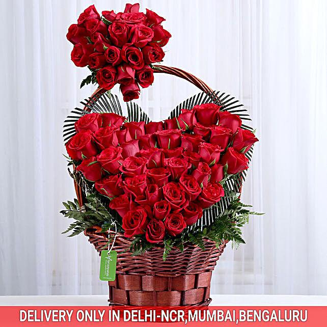 Roses heart shape in basket arrangement