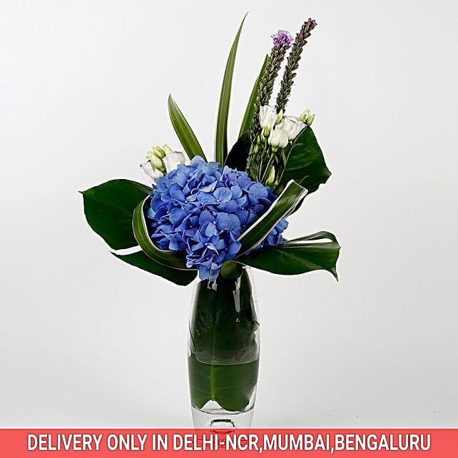 Imported Blue Hydrangea Glass Vase Arrangement