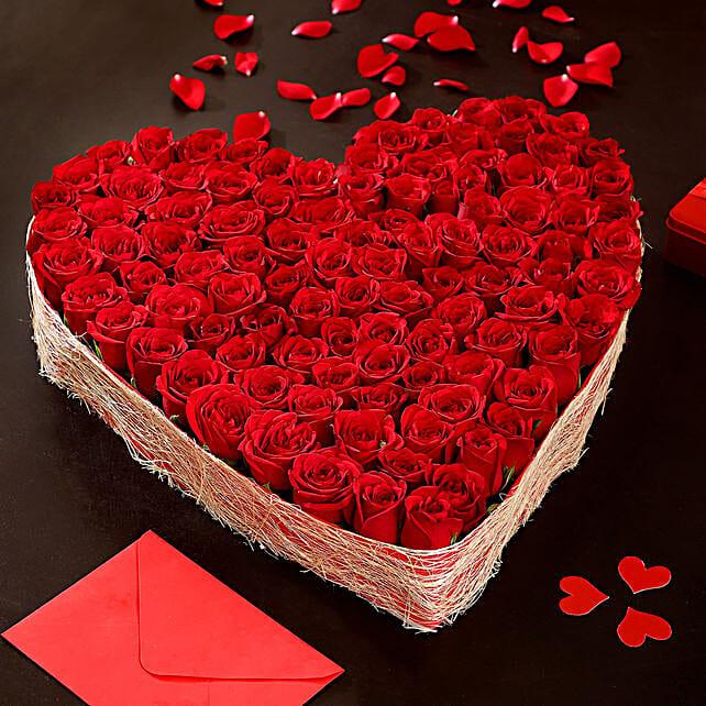 Online Heart Shaped Red Roses Arrangement:Heart Shaped Flower Arrangements