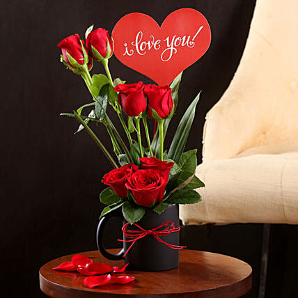 I Love You Red Rose Vase Gift Buy Online Red Roses Ferns N Petals