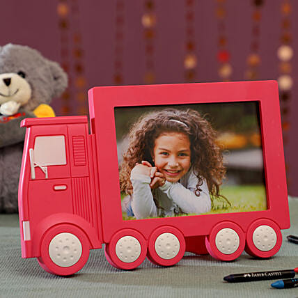 Personalised Pink Truck Photo Frame