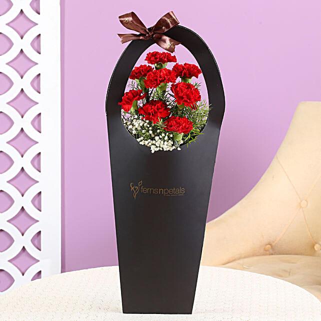 carnation flower in black sleeve bag:Valentines Day Carnations