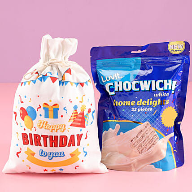 Chocolate Gunny Bag for Birthday Online:White Chocolates
