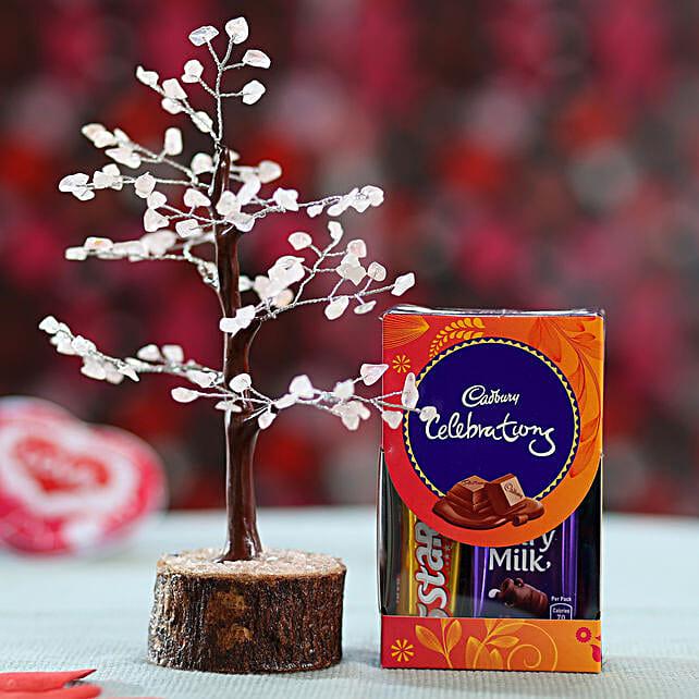 online rose wish tree with chocolates