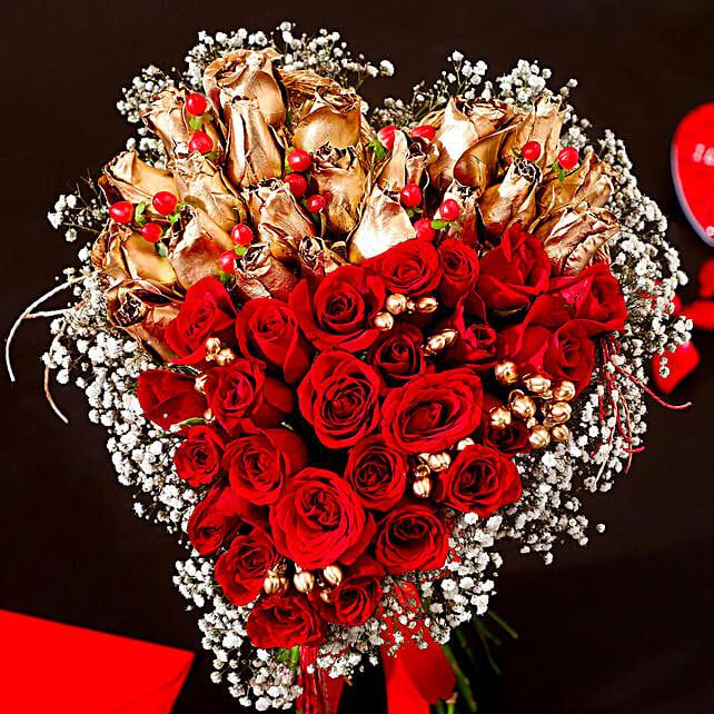 golden n red roses in heart shape arrangement online