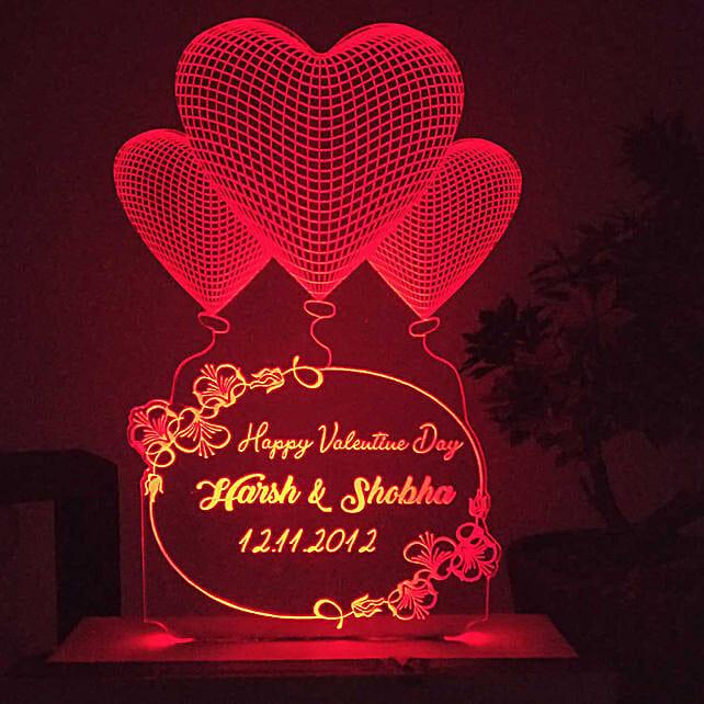 customised heart red led night lamp online