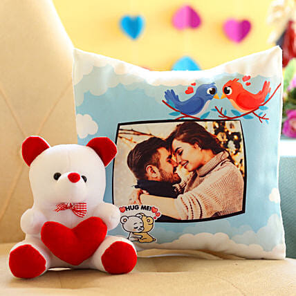 Valentine personalised cushion with teddy combo online:Personalised Gifts N Teddy Bears