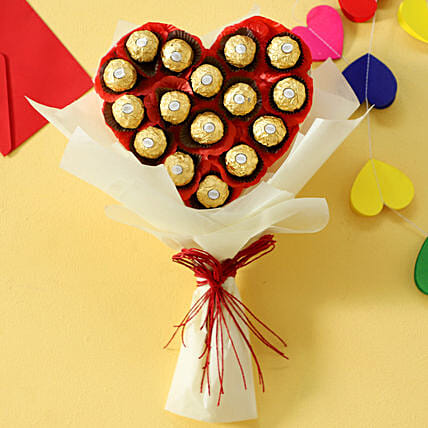 Rocher Chocolates in Heart shaped Bouquet:Ferrero Rocher Chocolates