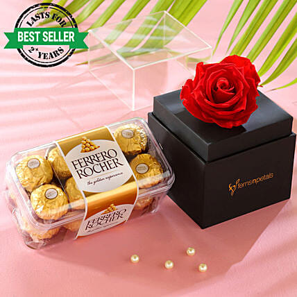 best infinity rose with chocolate online