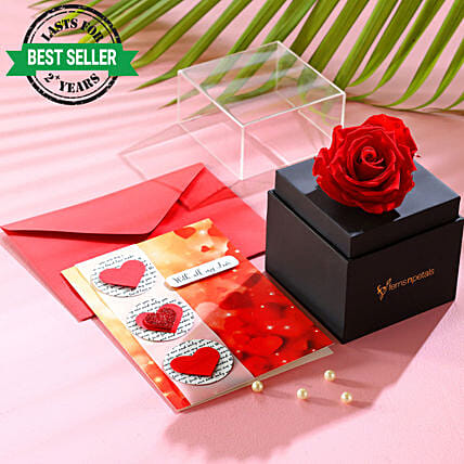 lovely red forever rose with greeting card online
